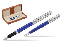Waterman Fountain Pen + Ballpoint Pen 2018 Deluxe Blue Wave CT  in classic box brown