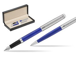 Waterman Fountain Pen + Ballpoint Pen 2018 Deluxe Blue Wave CT  in classic box  pure black