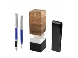 Waterman Fountain Pen + Ballpoint Pen 2018 Deluxe Blue Wave CT in gift box  StandUP Wood
