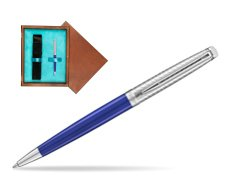 Waterman Hemisphere 2018 Deluxe Blue Wave CT Ballpoint pen in single wooden box  Mahogany Single Turquoise