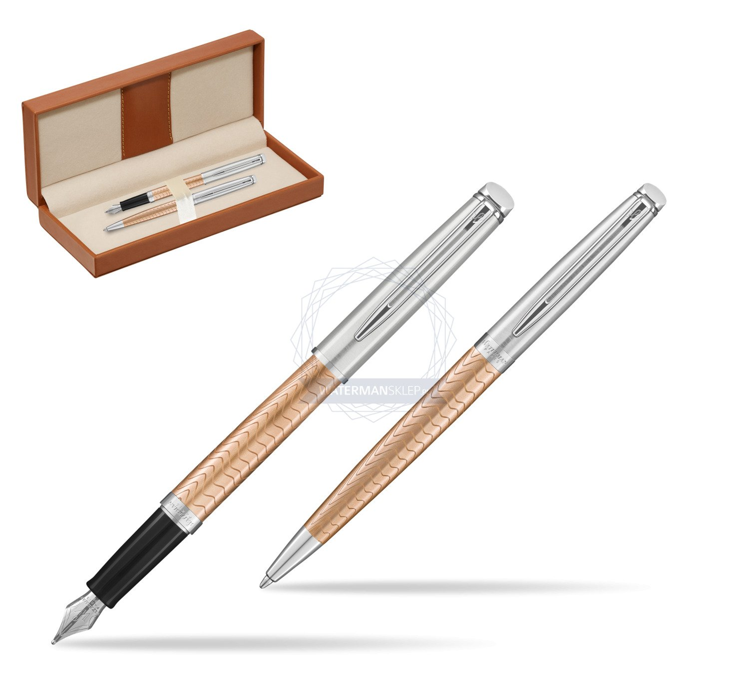 waterman fountain pen ballpoint pen 2018 deluxe rose wave ct in classic box brown in classic. Black Bedroom Furniture Sets. Home Design Ideas