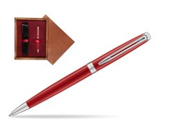 Waterman Hemisphere 2018 Comet Red CT Ballpoint pen in single wooden box Mahogany Single Maroon
