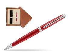 Waterman Hemisphere 2018 Comet Red CT Ballpoint pen in single wooden box  Mahogany Single Ecru