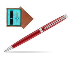 Waterman Hemisphere 2018 Comet Red CT Ballpoint pen in single wooden box  Mahogany Single Turquoise