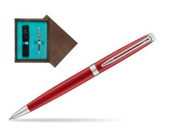 Waterman Hemisphere 2018 Comet Red CT Ballpoint pen in single wooden box  Wenge Single Turquoise