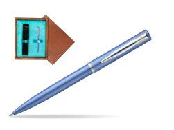 Waterman Allure blue CT Ballpoint Pen  in single wooden box  Mahogany Single Turquoise