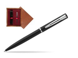Waterman Allure muted black CT Ballpoint Pen in single wooden box Mahogany Single Maroon