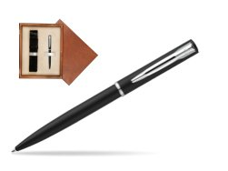 Waterman Allure muted black CT Ballpoint Pen in single wooden box  Mahogany Single Ecru