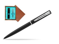 Waterman Allure muted black CT Ballpoint Pen in single wooden box  Mahogany Single Turquoise
