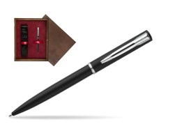 Waterman Allure muted black CT Ballpoint Pen in single wooden box  Wenge Single Maroon