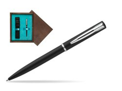 Waterman Allure muted black CT Ballpoint Pen in single wooden box  Wenge Single Turquoise