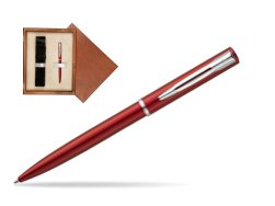 Waterman Allure red CT Ballpoint Pen in single wooden box  Mahogany Single Ecru