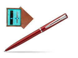 Waterman Allure red CT Ballpoint Pen in single wooden box  Mahogany Single Turquoise