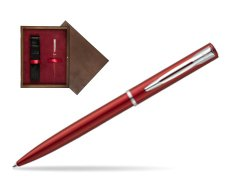 Waterman Allure red CT Ballpoint Pen in single wooden box  Wenge Single Maroon