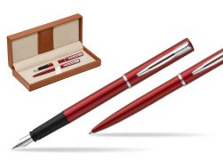 Waterman Fountain Pen + Ballpoint Pen Allure red CT  in classic box brown