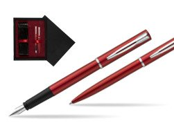 Waterman Fountain Pen + Ballpoint Pen Allure red CT  double wooden box Black Double Maroon