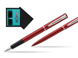 Waterman Fountain Pen + Ballpoint Pen Allure red CT  double wooden box Black Double Turquoise