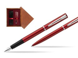 Waterman Fountain Pen + Ballpoint Pen Allure red CT in double wooden box Mahogany Double Maroon