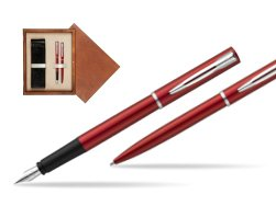 Waterman Fountain Pen + Ballpoint Pen Allure red CT in double wooden box Mahogany Double Ecru