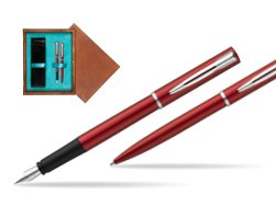 Waterman Fountain Pen + Ballpoint Pen Allure red CT in double wooden box Mahogany Double Turquoise