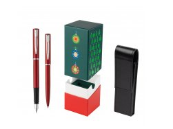 Waterman Fountain Pen + Ballpoint Pen Allure red CT in gift box StandUP Christmas Tree