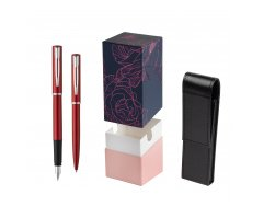 Waterman Fountain Pen + Ballpoint Pen Allure red CT in gift box  StandUP Roses