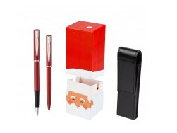 Waterman Fountain Pen + Ballpoint Pen Allure red CT w gift box StandUP Santa Claus