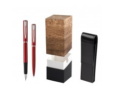 Waterman Fountain Pen + Ballpoint Pen Allure red CT in gift box  StandUP Wood