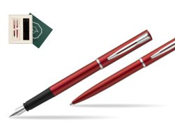 "Waterman Fountain Pen + Ballpoint Pen Allure red CT in Gift Box ""Science"""