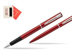 "Waterman Fountain Pen + Ballpoint Pen Allure red CT in Gift Box ""Red Love"""