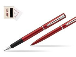 "Waterman Fountain Pen + Ballpoint Pen Allure red CT in Gift Box ""Pure Love"""