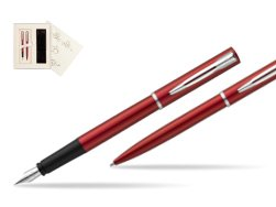 Waterman Fountain Pen + Ballpoint Pen Allure red CT in Wedding Gift Box