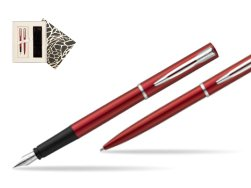 Waterman Fountain Pen + Ballpoint Pen Allure red CT in Standard Gift Box