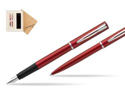 Waterman Fountain Pen + Ballpoint Pen Allure red CT in Standard 2 Gift Box