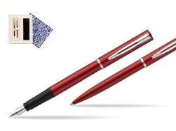 Waterman Fountain Pen + Ballpoint Pen Allure red CT in Universal Gift Box Crystal Blue