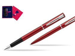Waterman Fountain Pen + Ballpoint Pen Allure red CT in Love Box