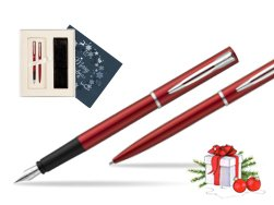 Waterman Fountain Pen + Ballpoint Pen Allure red CT in Christmas Gift Box navy blue