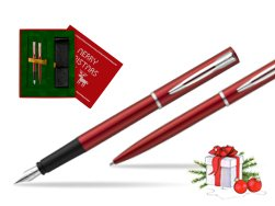 Waterman Fountain Pen + Ballpoint Pen Allure red CT in Christmas Gift Box red