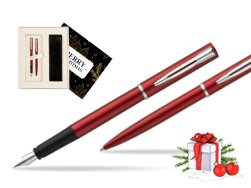Waterman Fountain Pen + Ballpoint Pen Allure red CT w Christmas Gift Box Magic of Christmas