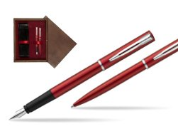 Waterman Fountain Pen + Ballpoint Pen Allure red CT in double wooden box Wenge Double Maroon