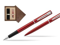 Waterman Fountain Pen + Ballpoint Pen Allure red CT in double wooden box Wenge Double Ecru