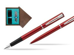 Waterman Fountain Pen + Ballpoint Pen Allure red CT in double wooden box Wenge Double Turquoise