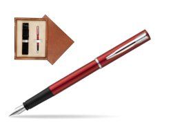 Waterman Allure red Fountain Pen  in single wooden box  Mahogany Single Ecru