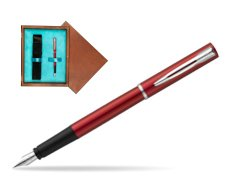 Waterman Allure red Fountain Pen  in single wooden box  Mahogany Single Turquoise