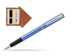 Waterman Allure blue Fountain Pen  in single wooden box  Mahogany Single Ecru