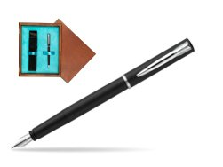 Waterman Allure black mat CT Fountain Pen  in single wooden box  Mahogany Single Turquoise