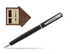 Waterman Allure black mat CT Fountain Pen  in single wooden box  Wenge Single Ecru