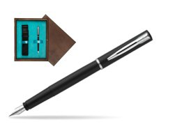 Waterman Allure black mat CT Fountain Pen  in single wooden box  Wenge Single Turquoise