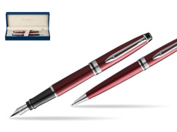 Waterman Expert Dark Red CT Fountain Pen + Waterman Expert Dsrk Red Ballpoint Pen in gift box