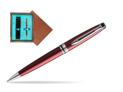 Waterman Ballpoint Pen Expert Dark Red CT in single wooden box  Mahogany Single Turquoise